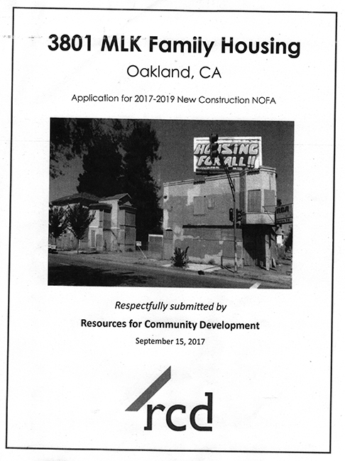 Cover sheet for nonprofit housing developer's application for city funding.