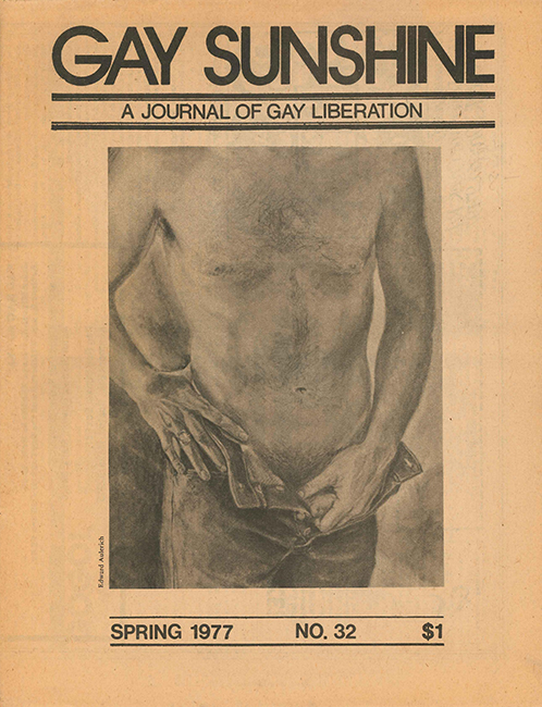 Drawing of Bob by Ed Aulerich on the cover of the spring 1977 issue of Gay Sunshine.