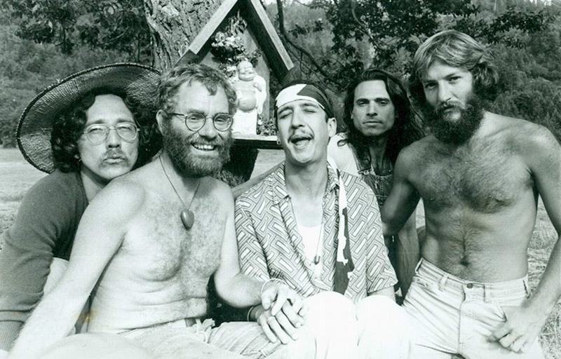 (From left to right) Forrest Baker, Michael Ford, Jai Elliott, Bigs, and Steven DiVerde, ca. 1970s. Taken at Wolf Creek, a Radical Faerie sanctuary in Oregon.