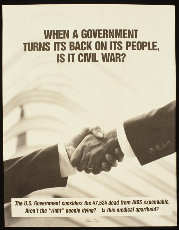 """Manuscripts and Archives Division, The New York Public Library. """"When a Government Turns Its Back on Its People, Is It Civil War? (Final poster)"""" New York Public Library Digital Collections. Accessed July 9, 2018. http://digitalcollections.nypl.org/items/510d47e4-103f-a3d9-e040-e00a18064a99"""