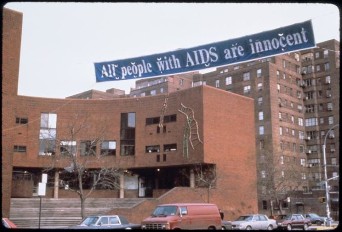 "Manuscripts and Archives Division, The New York Public Library. ""All People with AIDS Are Innocent (Banner at the Henry Street Settlement)"" New York Public Library Digital Collections. Accessed July 9, 2018. http://digitalcollections.nypl.org/items/510d47e4-1ce3-a3d9-e040-e00a18064a99"