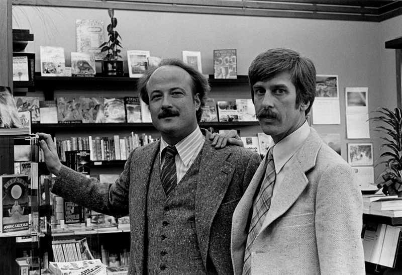 Donn Tatum and Stephen Lowell at Paperback Traffic (Polk and California location). From the Stephen F. Lowell Papers, 1996-05, The Gay, Lesbian, Bisexual, Transgender Historical Society.