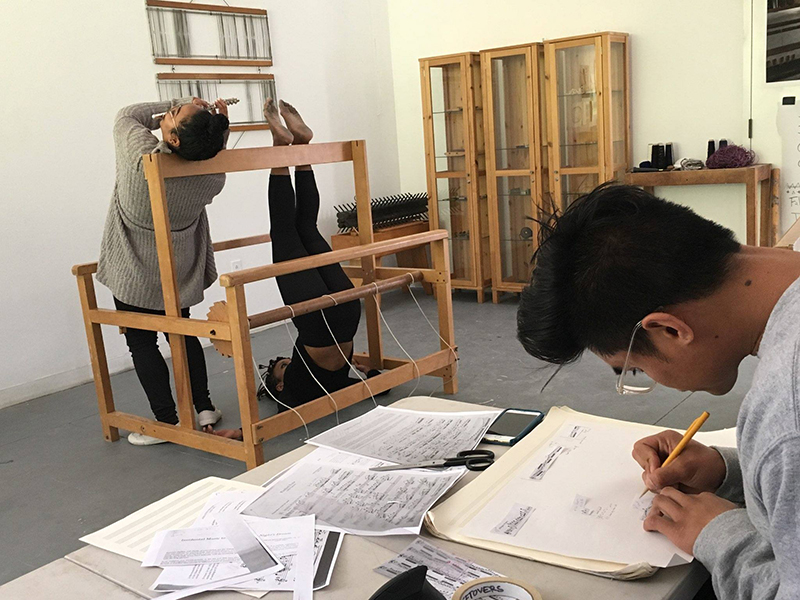 From left to right: Sarah Cargill, Indira Allegra, and Amadeus Regucera workshopping <em>Submission in Five Acts</em> at Mills College. Photo: Melissa Panlasigui.