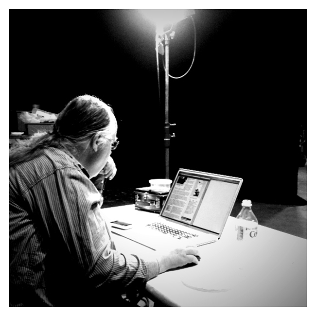 Tom Duff programming on a sound stage at Kerner Boulevard in San Rafael. Photo: Mark VandeWettering; courtesy Tom Duff.