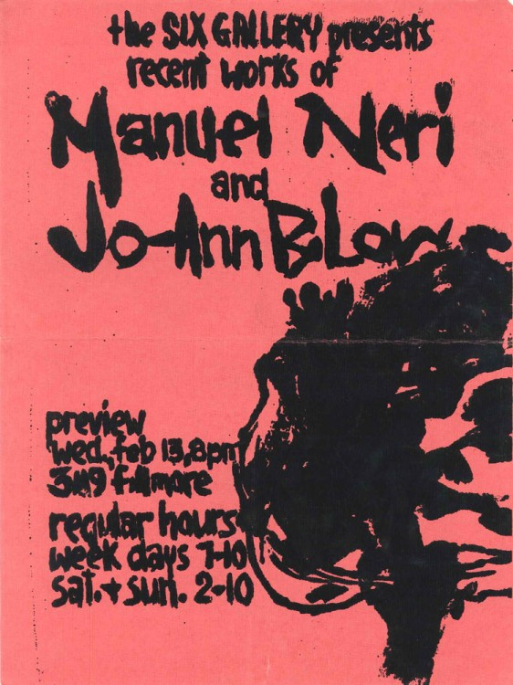 "Manuel Neri and JoAnn B.Low, 1957. ""I slapped together the simple original in a rush,"" Low recalled. ""Manuel and I delivered the shocking pink announcement to a fellow student with a print shop who helped without charge."""