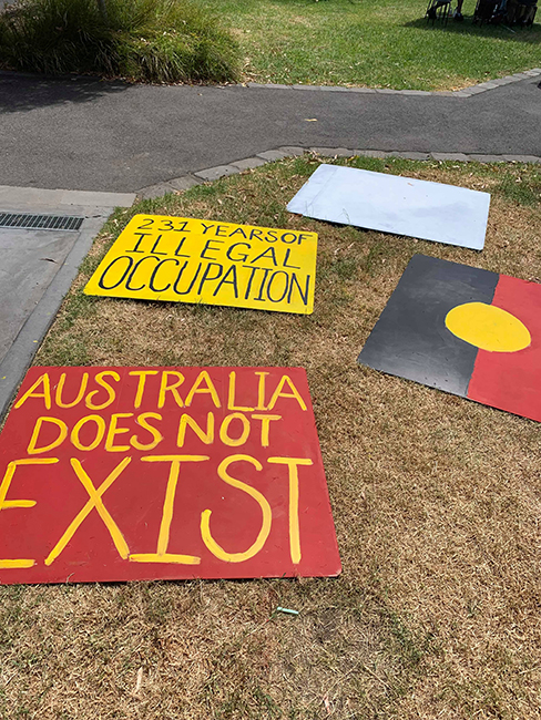Banners made at this mob's Invasion Day Banner Painting workshop, 2019.