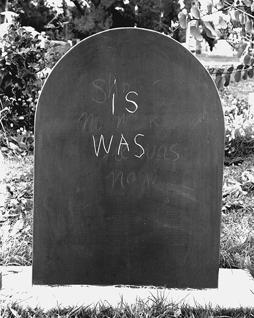 Joyce Burstein, the epitaph project, 1994–ongoing; slate, chalk, cemetery plot. Hollywood Forever Cemetery, Los Angeles, CA.