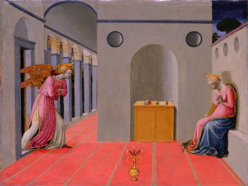 Francesco Pesellino, The Annunciation, ca. 1445; tempera and gold leaf on panel. Legion of Honor, Gift of The de Young Museum Society.