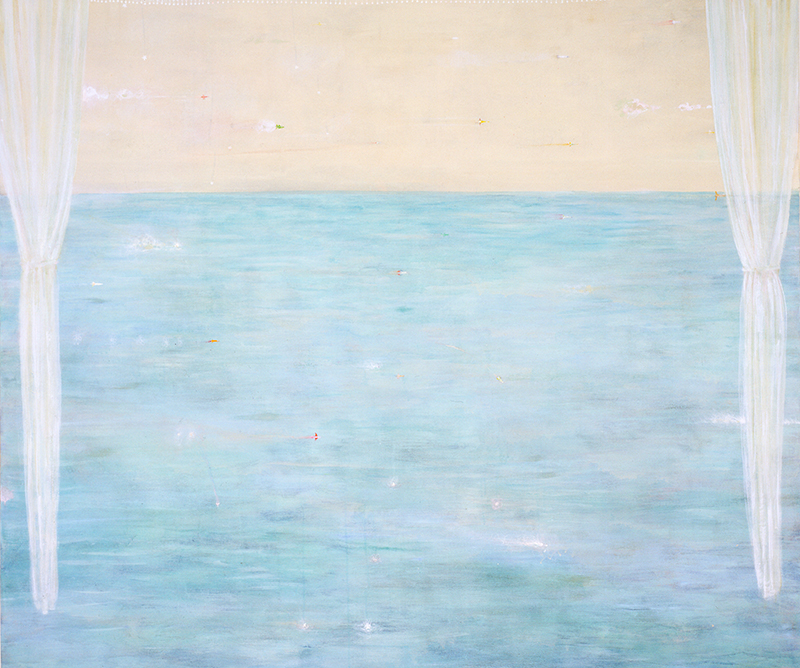 Hiroshi Sugito, Crossing the Sea, 1998; acrylic, pigment, graphite, and colored pencil on cotton duck; 68 in. x 80 in. (172.72 cm x 203.2 cm); Collection SFMOMA Accessions Committee Fund purchase;
