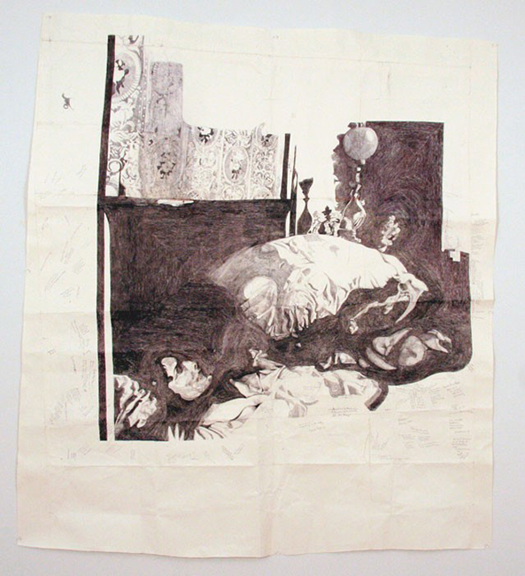 Dawn Clements, Jessica Drummond in Bed (My Reputation, 1946), 2012, Ballpoint pen ink on paper, 61 x 68.5 inches. Courtesy Pierogi and the Clements Family.