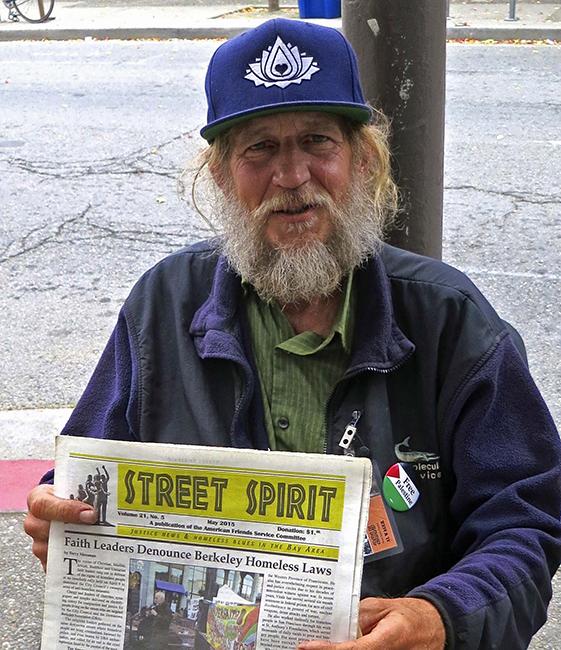 A Street Spirit vendor.