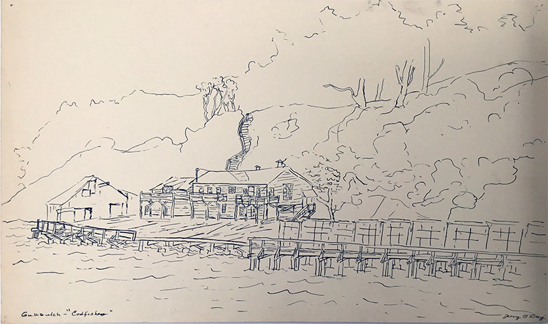 Undated pen and ink drawing by Jerry O'Day, picturing the Codfishery wharf from Richardson Bay. From the Dave Lemon and Jerry O'Day collection.