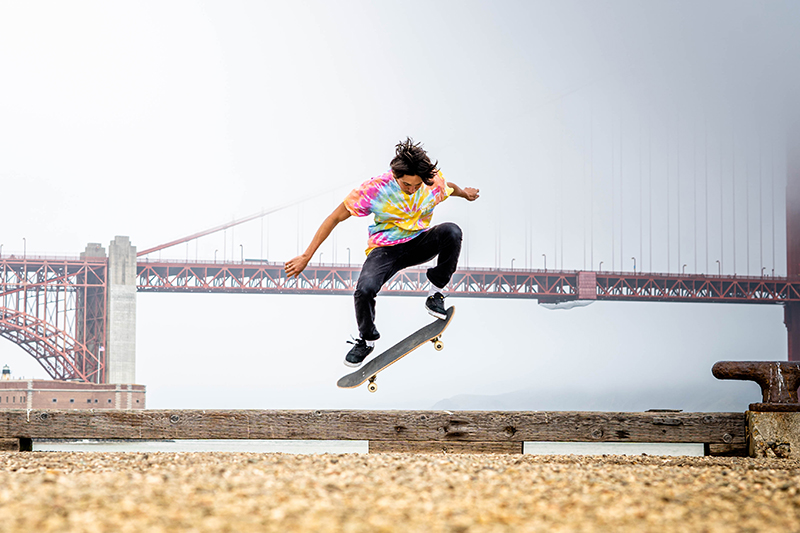 A Native American skater ollies near Fort Point. Photo: Joey Montoya.