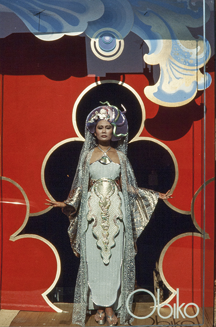 Obiko's original storefront on Sacramento St. in San Francisco, mid-1970s. The model, Merle Bulatao, is wearing a piece by Kaisik Wong.
