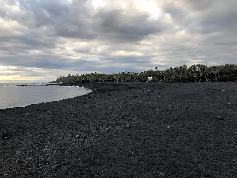 New black sand beach (created August 2018), Isaac Hale Beach Park, Pohoiki, Hawaii, CA.