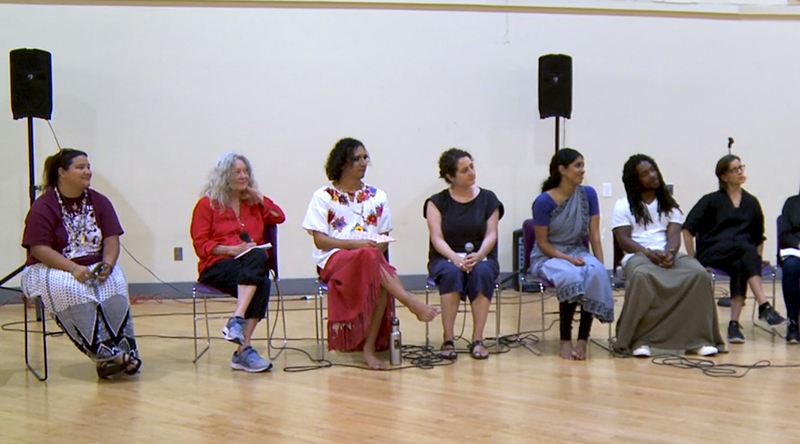 During the <em>Inherited Bodies</em> panel discussion. From left to right: Kanyon Sayers-Roods (Mutsun-Ohlone), Sara Shelton Mann, Snowflake Towers, Claudia La Rocco, Nadhi Thekkek, Jarrel Phillips, and Hope Mohr.