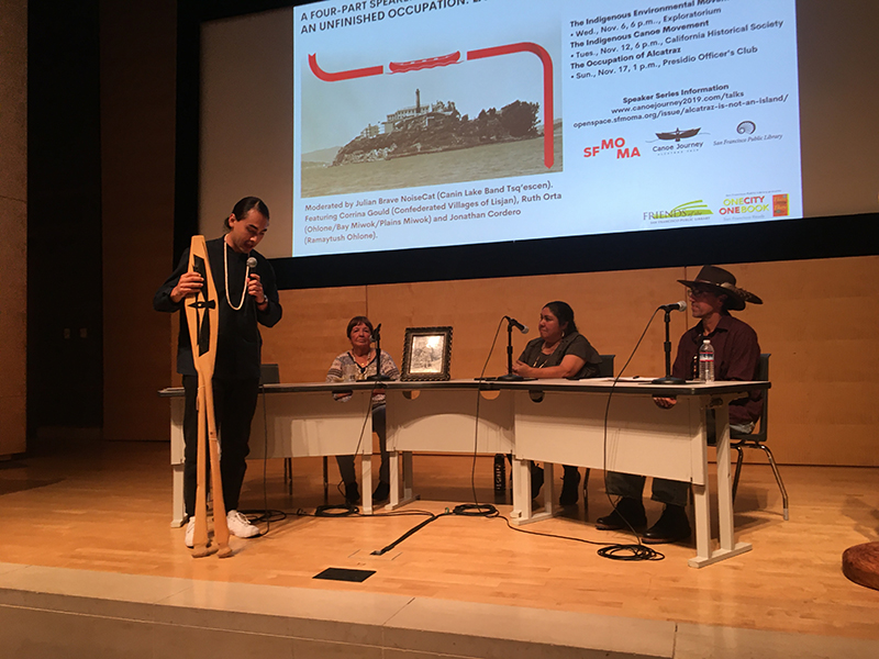 """From the """"Landless in the Bay Area"""" panel at San Francisco Public Library on October 23, 2019. From left to right: Julian Brave NoiseCat, Ruth Orta, Corinna Gould, and Jonathan Cordero."""