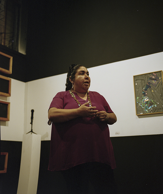Corrina Gould delivering a land acknowledgment at Open Space's 2019 Summer Party. Photo: Andrea Nieto.