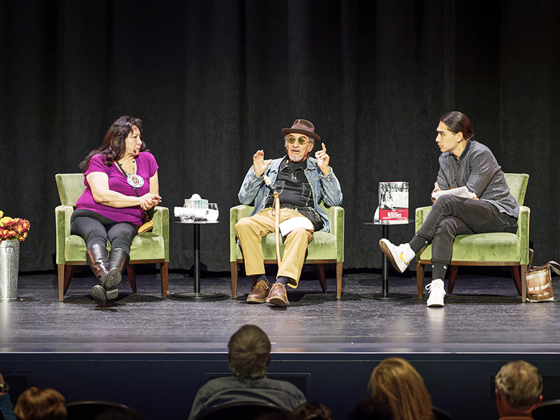 "LaNada War Jack, Eloy Martinez, and Julian Brave NoiseCat at ""The Occupation of Alcatraz"" Fiftieth Anniversary Presentation at the Presidio Theater. Photo: Dan Friedman."