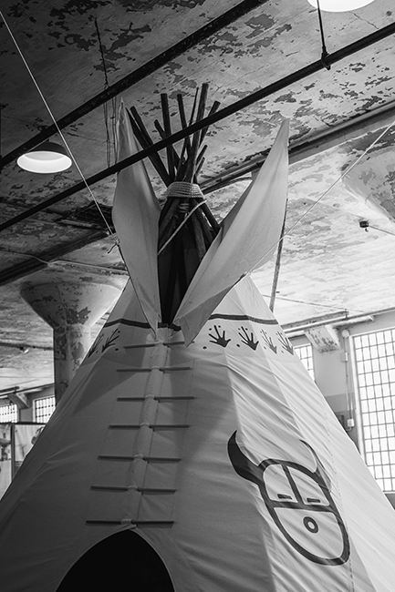 A teepee on Alcatraz Island, part of the fiftieth anniversary commemoration of the Occupation on November 20, 2019. Photo: Joey Montoya.