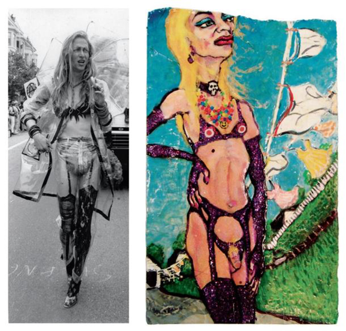 Left: Jerome Caja in San Francisco, n.d. Photo by Jim James. Right: Venus in Cleveland, 1995. Nail polish, enamel, and correction fluid on paper, 9 x 7 inches. Archives of American Art, Smithsonian Institution.