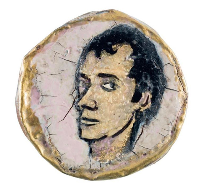 Jerome Caja, Untitled (Portrait of Charles Sexton), 1992. Nail polish and Charles Sexton's ashes on bottle cap, approximately 2 inches diameter. Collection Amy Scholder.