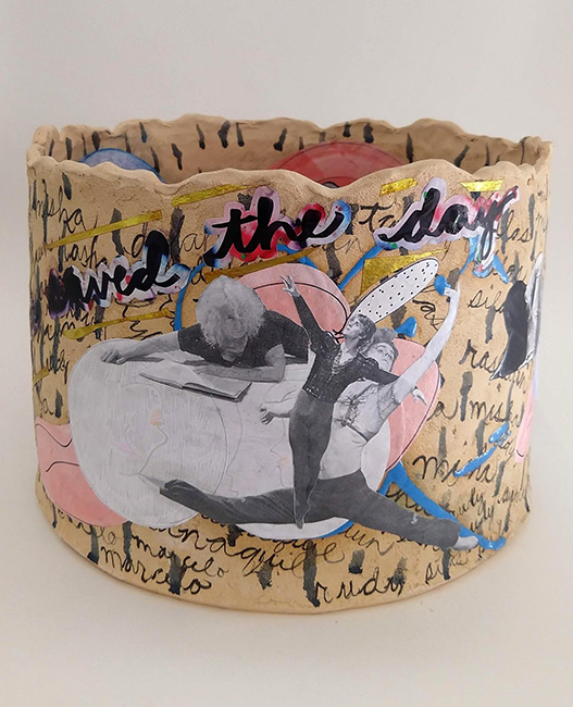 Catherine Fairbanks, Simone, You Saved The Day, 2019; high-fire ceramic, paper, matte medium.