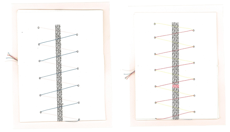 1/1 : Open/Space, typewriter book w/ thread, scanned at Copy Central on Telegraph, 12/7/19