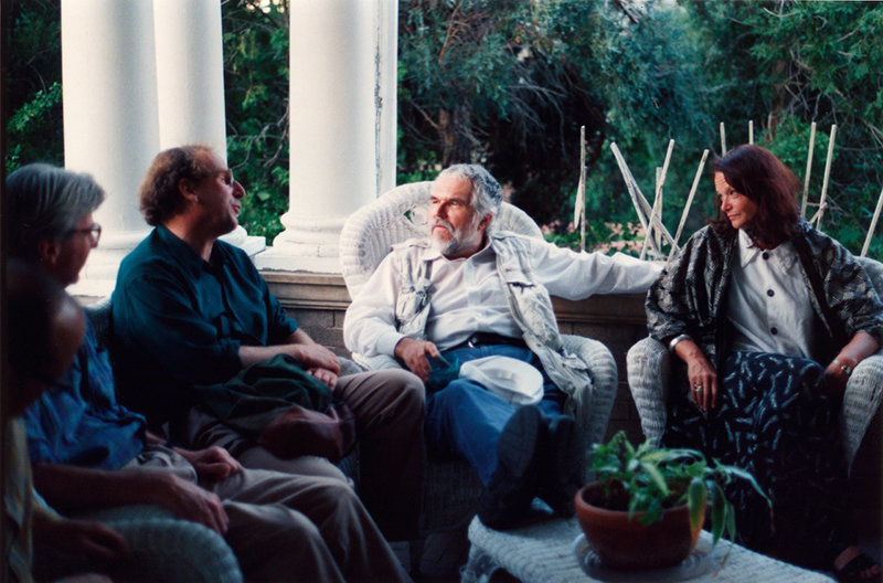 Left to right: Jerome Hiler, Nathaniel Dorsky, Stan Brakhage, and Anne Waldman, 1998.