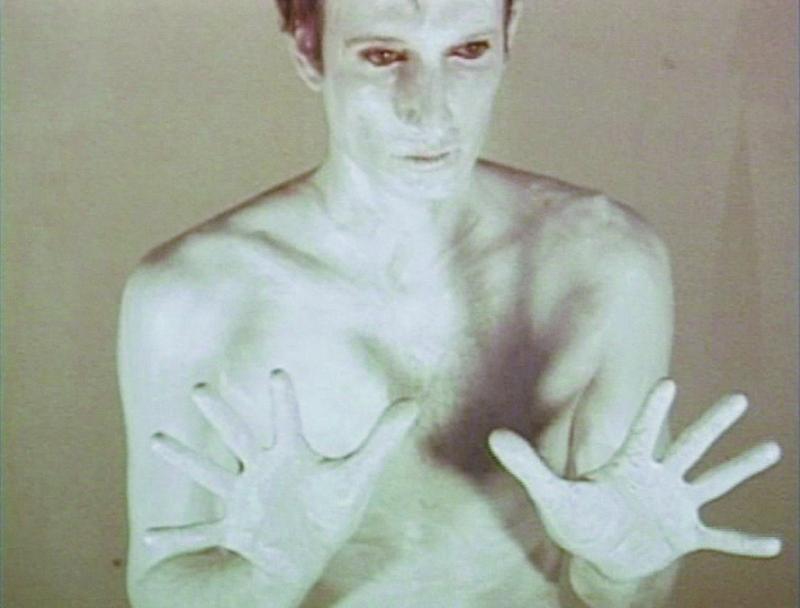 A still from Bruce Nauman's Art Make-Up, 1968.