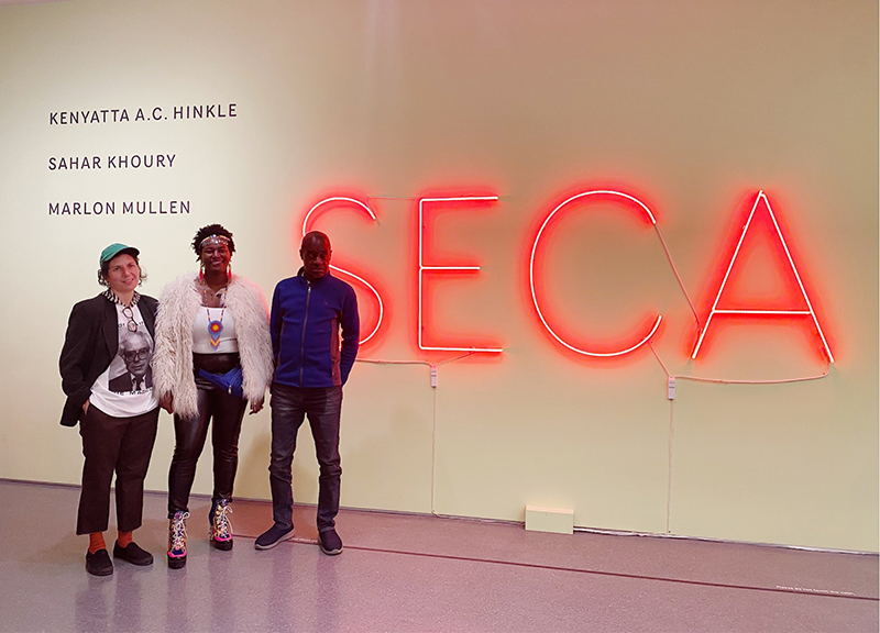 From left to right: Sahar Khoury, Kenyatta A.C. Hinkle, and Marlon Mullen, recipients of the 2019 SECA Art Award.