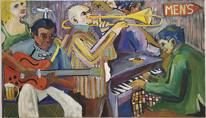 Mike Henderson, Me and the Band, c. 1968; oil on canvas, 55 x 96 inches. Courtesy of the artist and Haines Gallery, San Francisco.