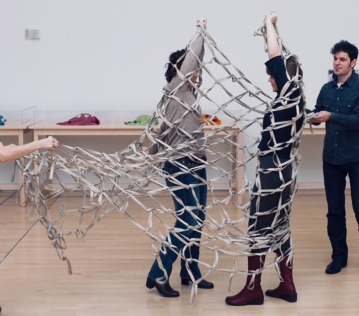 Lygia Clark, Rede de elástico (Elastic Net), 1973; installation view, The Art of Participation: 1950 to Now, SFMOMA 2008; Clark Family Collection, Rio de Janeiro, Brazil; photo: Ian Reeves.