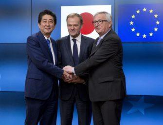 欧盟和日本周二签署内容广泛的贸易协定