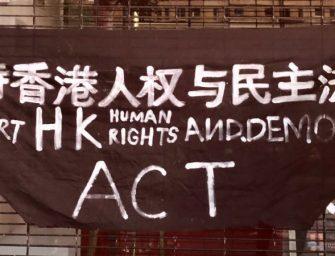 """中国民主党洛杉矶集会,支持美国会""""香港人权与民主法案"""""""