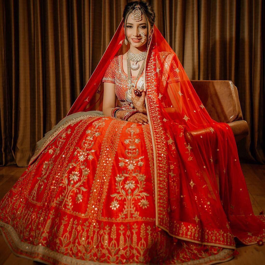 Orange Bridal Lehenga - Shaadiwish