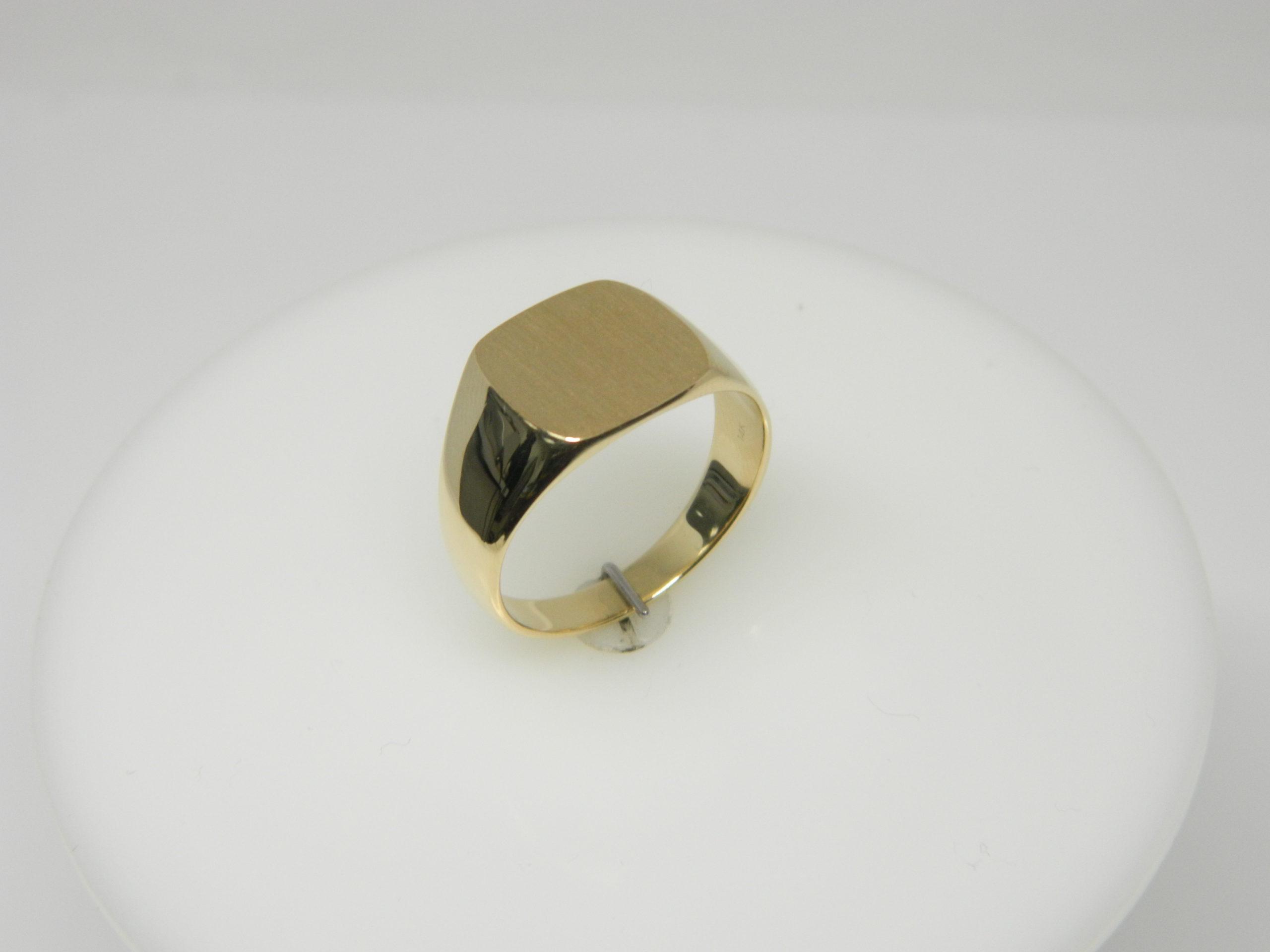 14 Karat Yellow Gold Bands Close Back Men's Signet Ring- SZ10