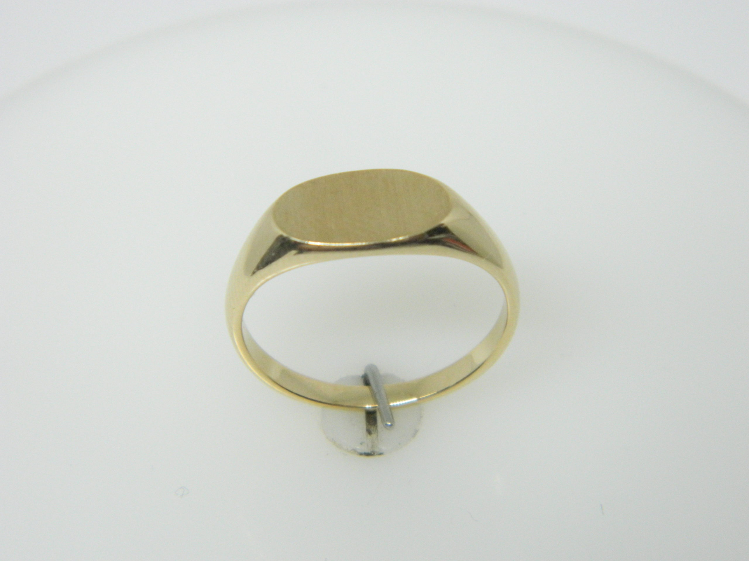 14 Karat Yellow Gold Bands Close Back Childrens Signet Ring- SZ4