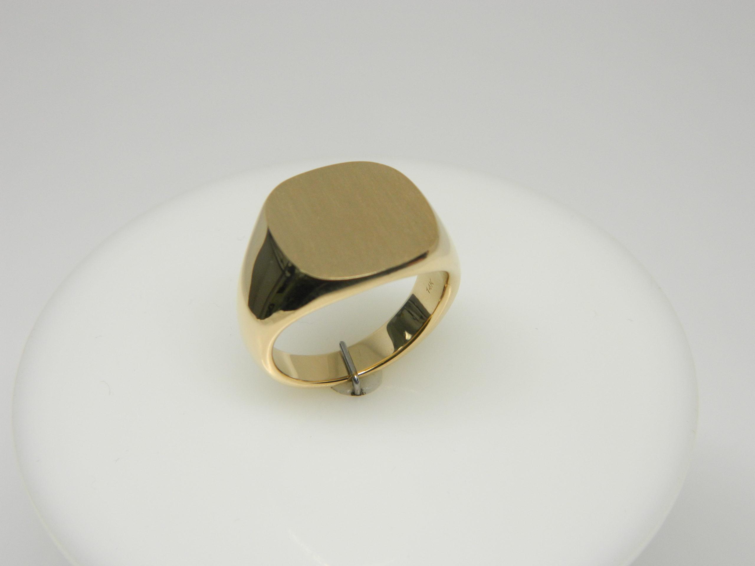 14 Karat Yellow Gold Bands Closed Back Men's Signet Ring- SZ10