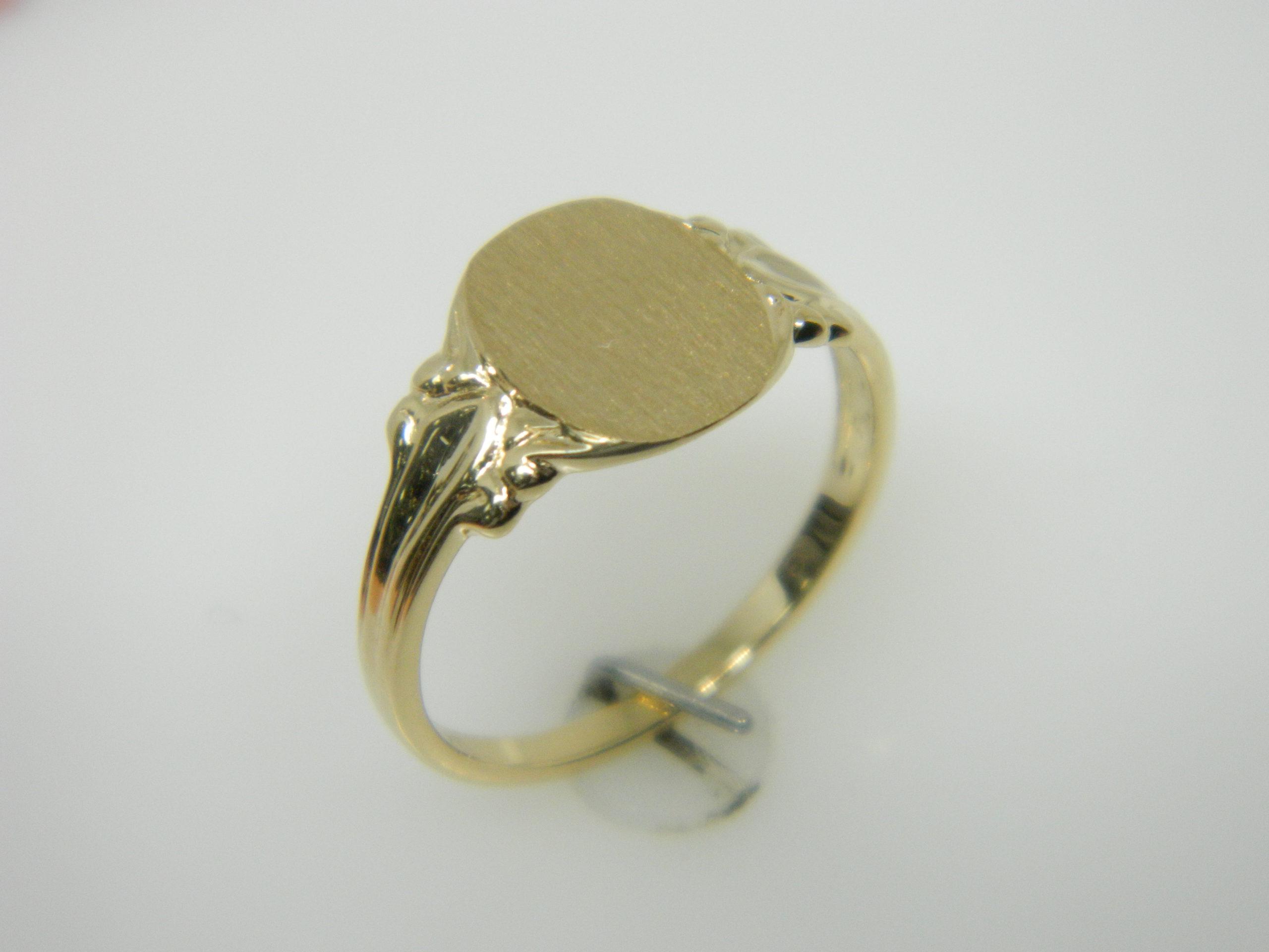 14 Karat Yellow Gold Bands Open Back Signet Ring- SZ6
