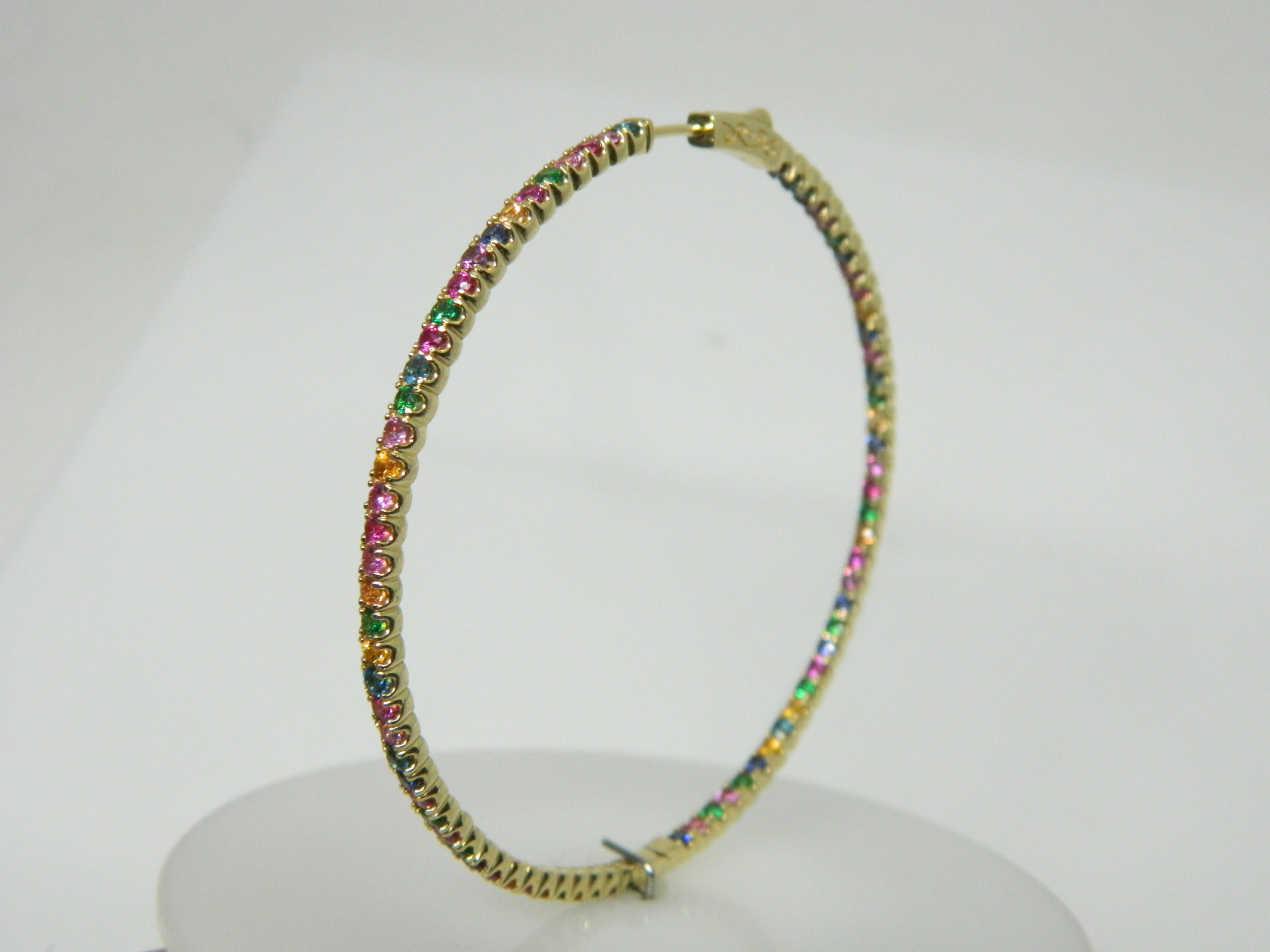 """14 Karat Yellow Gold Hoop Mounted 2.5"""" Earrings with Multi-Colored Sapphires weighing 7.00cts."""