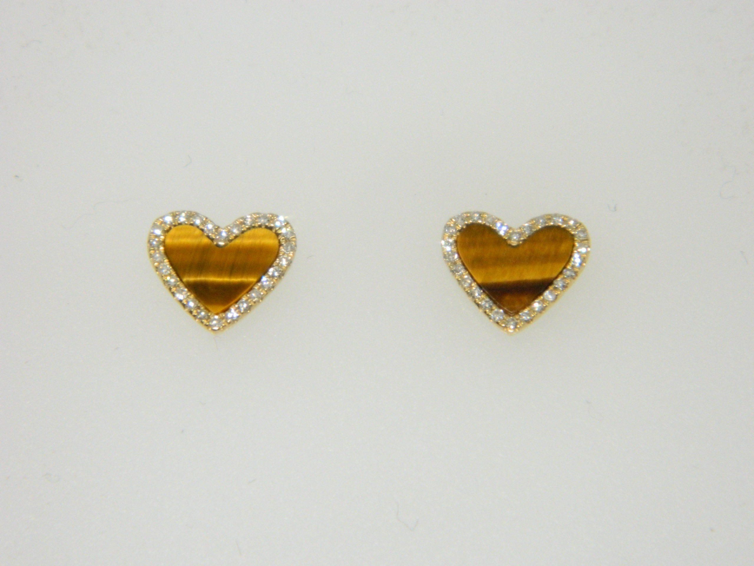 14 Karat Yellow Gold Stud Mounted Heart Earrings with 2 Tiger Eye weighing 0.82cts & 52 Round Cut Diamonds weighing 0.14cts