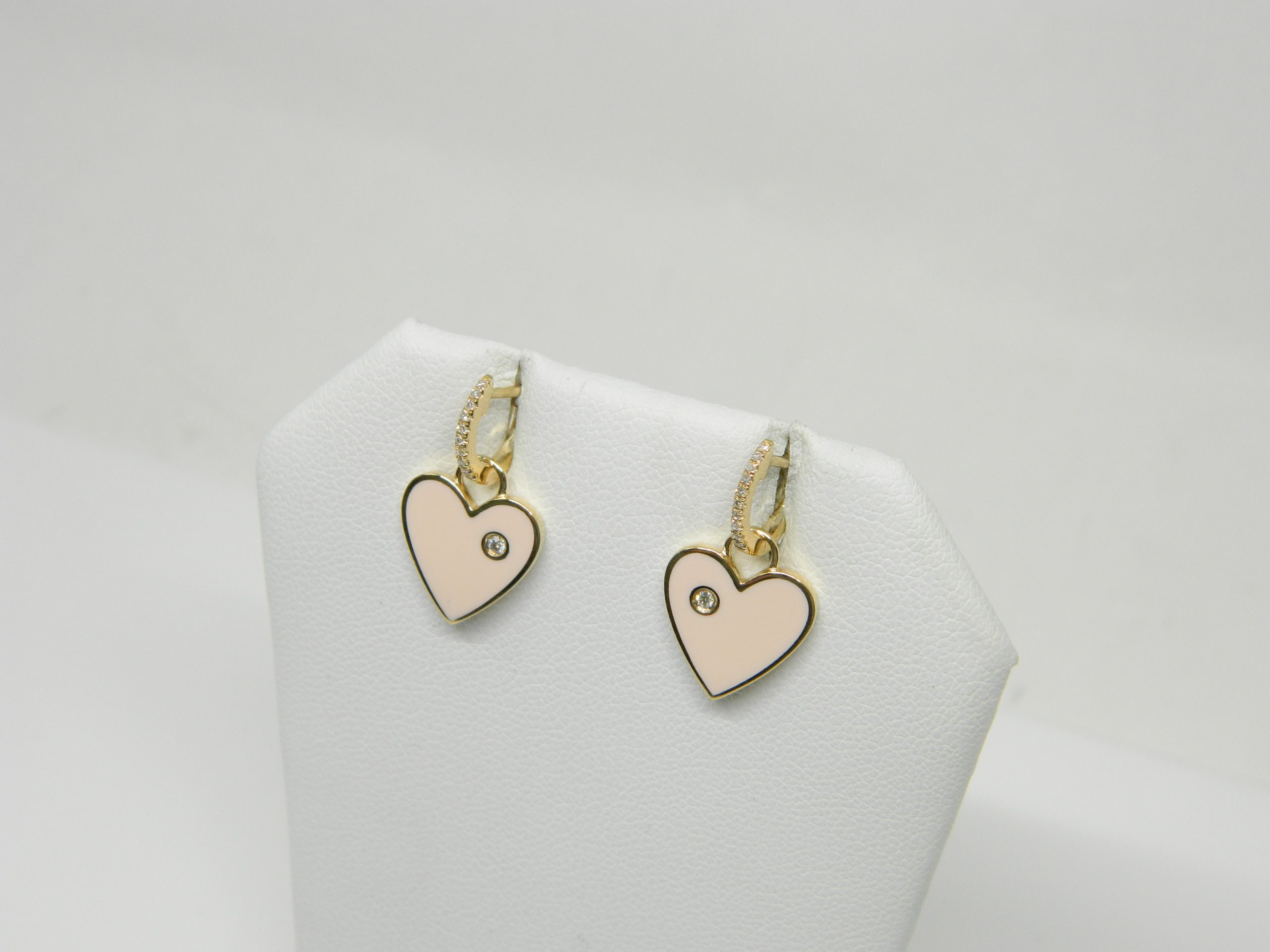 14 Karat Yellow Gold Drop Mounted Pink Heart Enamel Earrings with 22 Round Cut Diamonds weighing 0.08cts