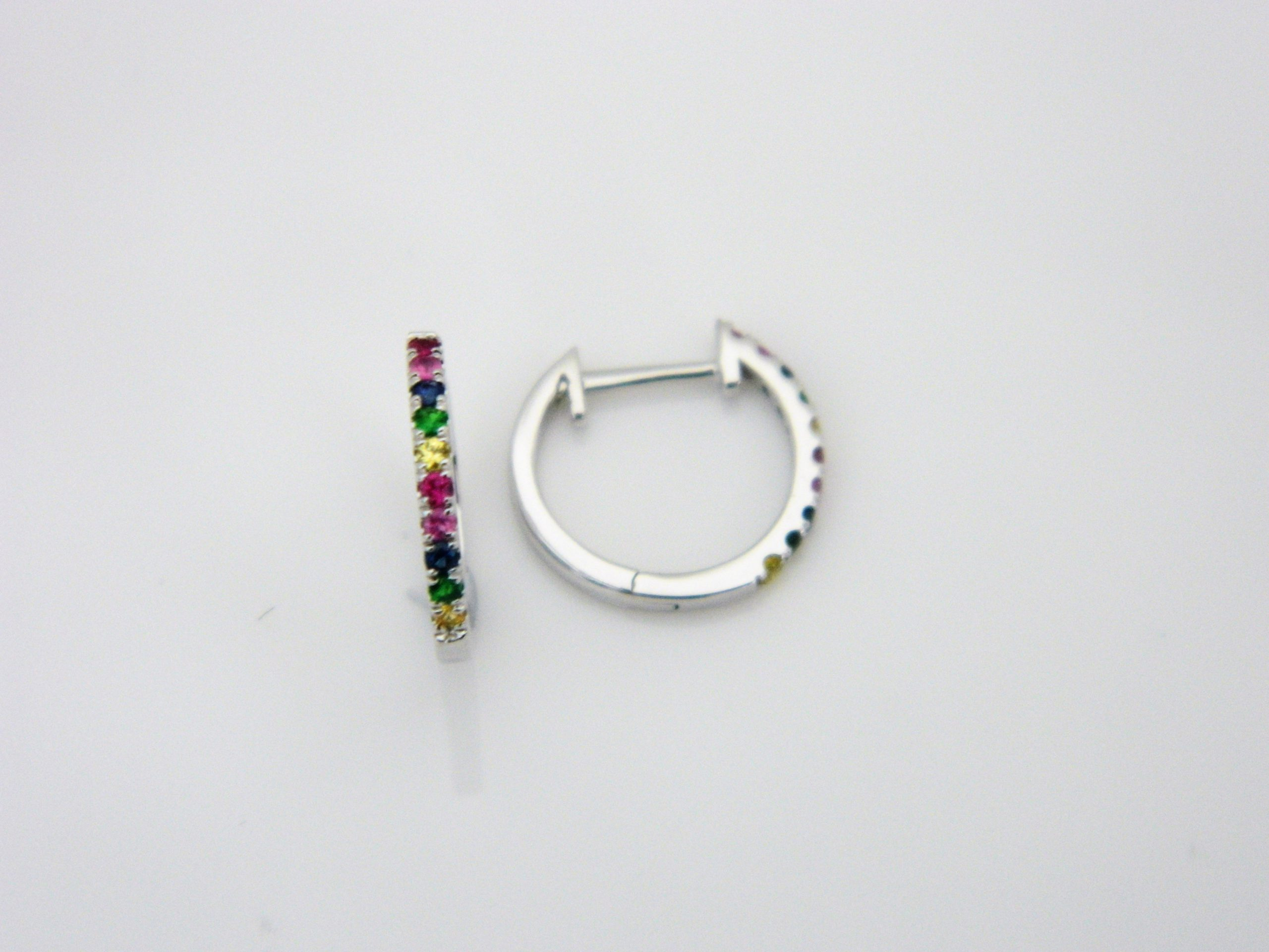 14 Karat White Gold Hoop Mounted Earrings with 4 Sapphire 0.03ct, 8 Pink Sapphires 0.06ct, 4 Multi-Color Sapphires 0.04ct and 4 Green Garnets 0.04ct tw.