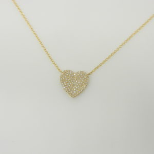 "14 Karat Yellow Gold Mounted 18"" Heart Necklace with 104 Round Cut Diamonds weighing 0.28cts"