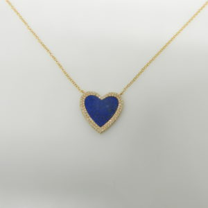 "14 Karat Yellow Gold Mounted 18"" Heart Necklace with 1 Lapis weighing 1.44cts & 91 Round Cut Diamonds weighing 0.19"