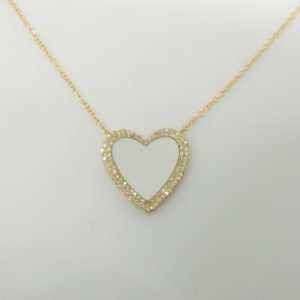 "14 Karat Yellow Gold Mounted 18"" Heart Necklace with 1 Mother of Pearl weighing 1.35cts & 91 Round Cut Diamonds weighing 0.19cts"