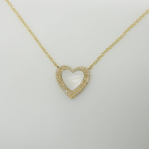 "14 Karat Yellow Gold Mounted 18"" Heart Necklace with 1 Mother of Pearl weighing 0.51cts & 59 Round Cut Diamonds weighing 0.14cts"
