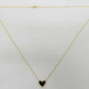 """14 Karat Yellow Gold Mounted 18"""" Heart Necklace with 1 Onyx weighing 0.41cts & 26 Round Cut Diamonds weighig 0.07"""
