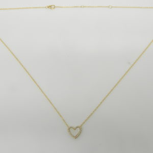 """14 Karat Yellow Gold Mounted 18"""" Heart Necklace with 1 Mother of Pearl weighing 0.44cts & 26 Round Cut Diamonds weighing 0.07cts"""